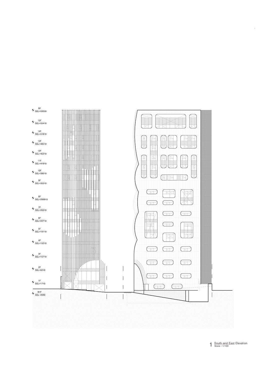 South and East Elevation Unsangdong Architects Co., Ltd.}