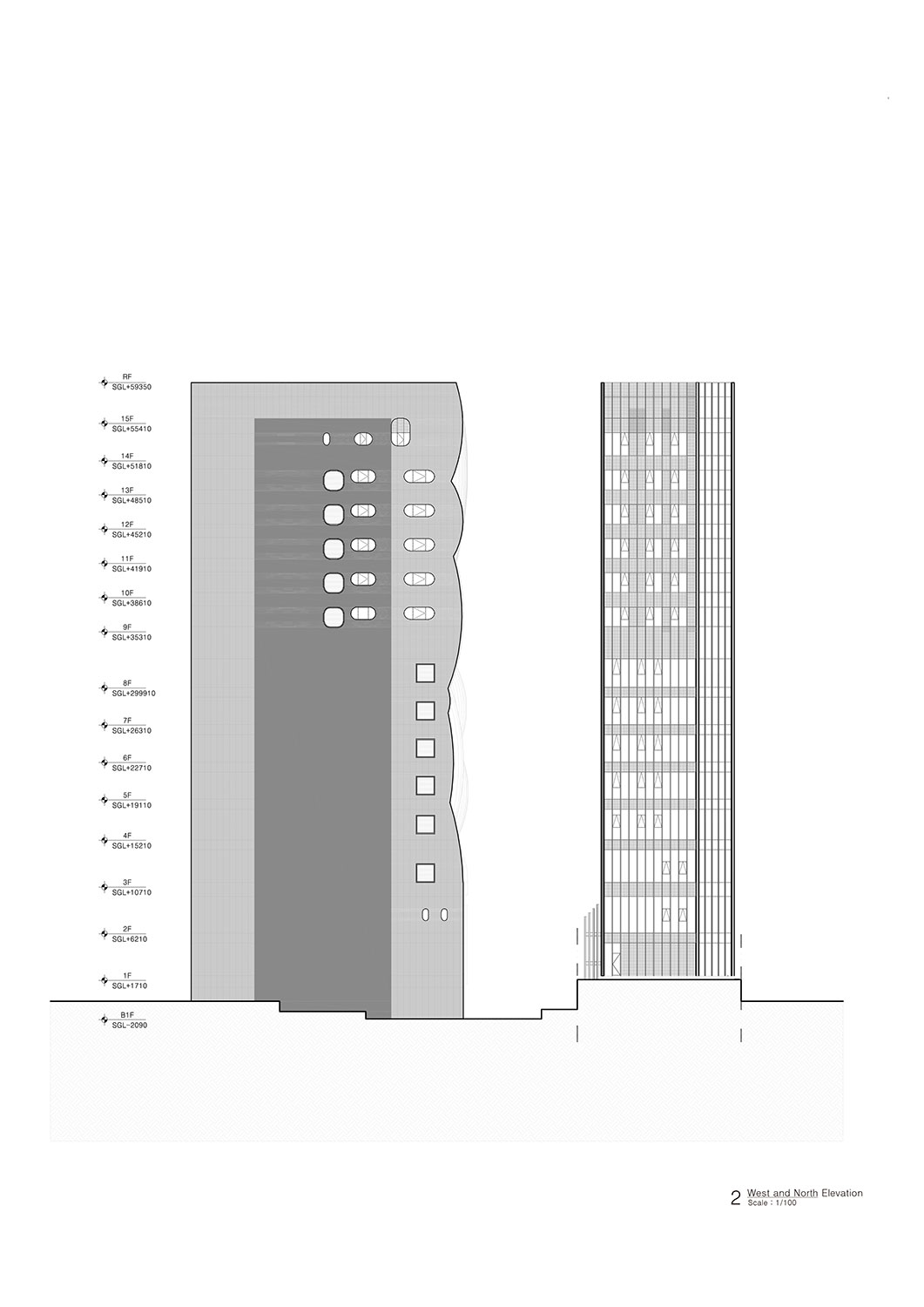 West and North Elevation Unsangdong Architects Co., Ltd.}