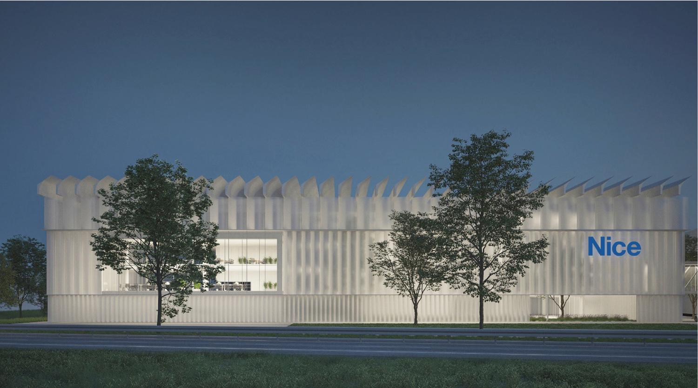 Vista notturna del Prospetto Principale MIDE architetti