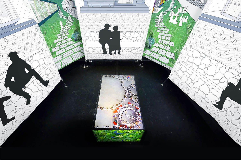 Photograph of Video Screen on Floor of Installation Louise Braverman Architect
