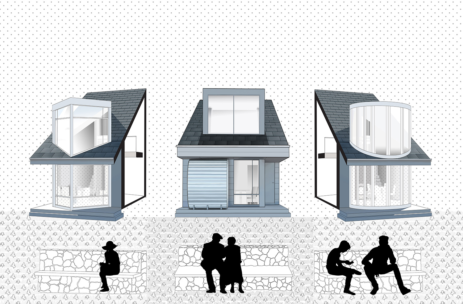 Drawing of Composite View of Porous Houses Louise Braverman Architect}