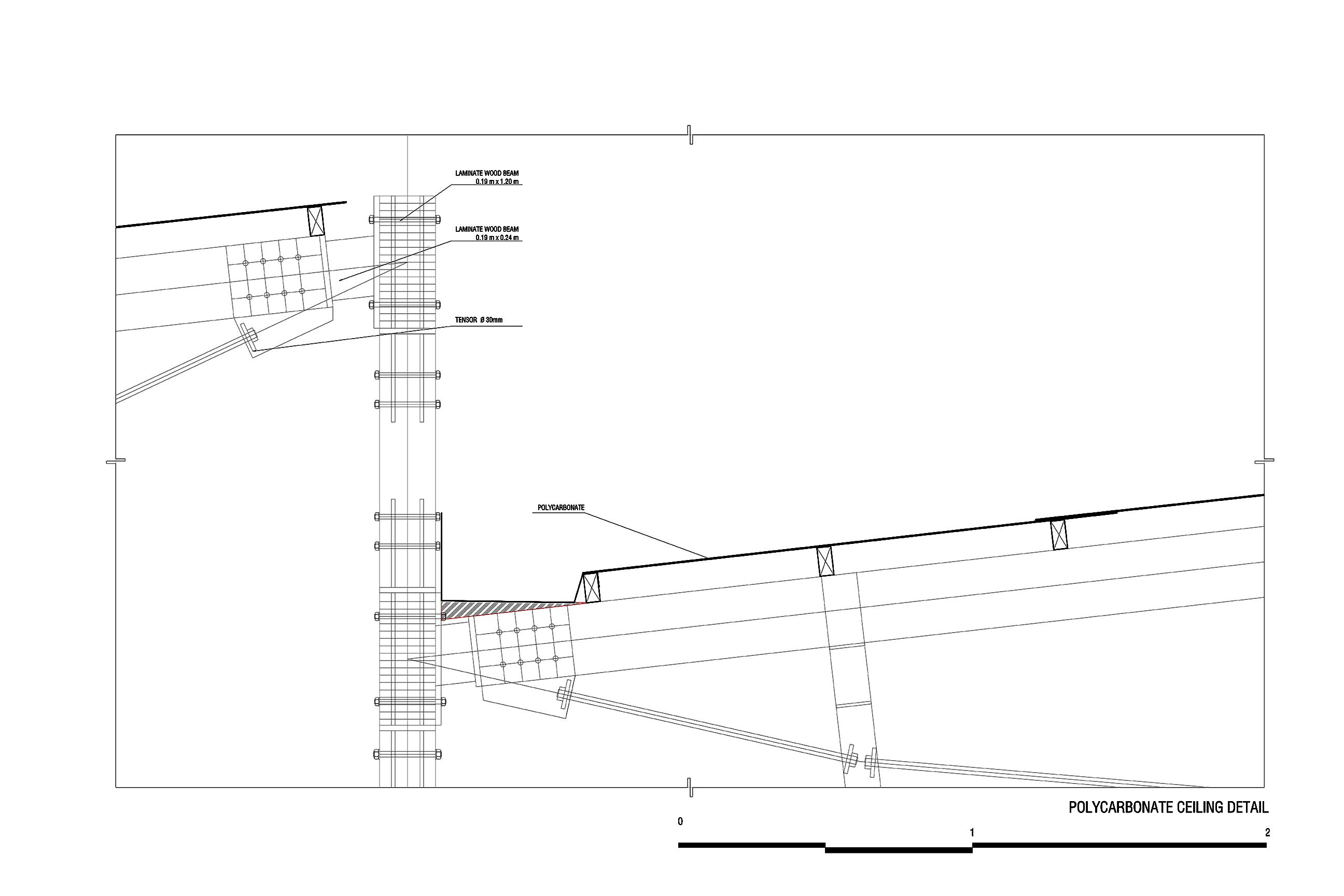 Polycarbonate ceiling detail taller paralelo + HRBT}