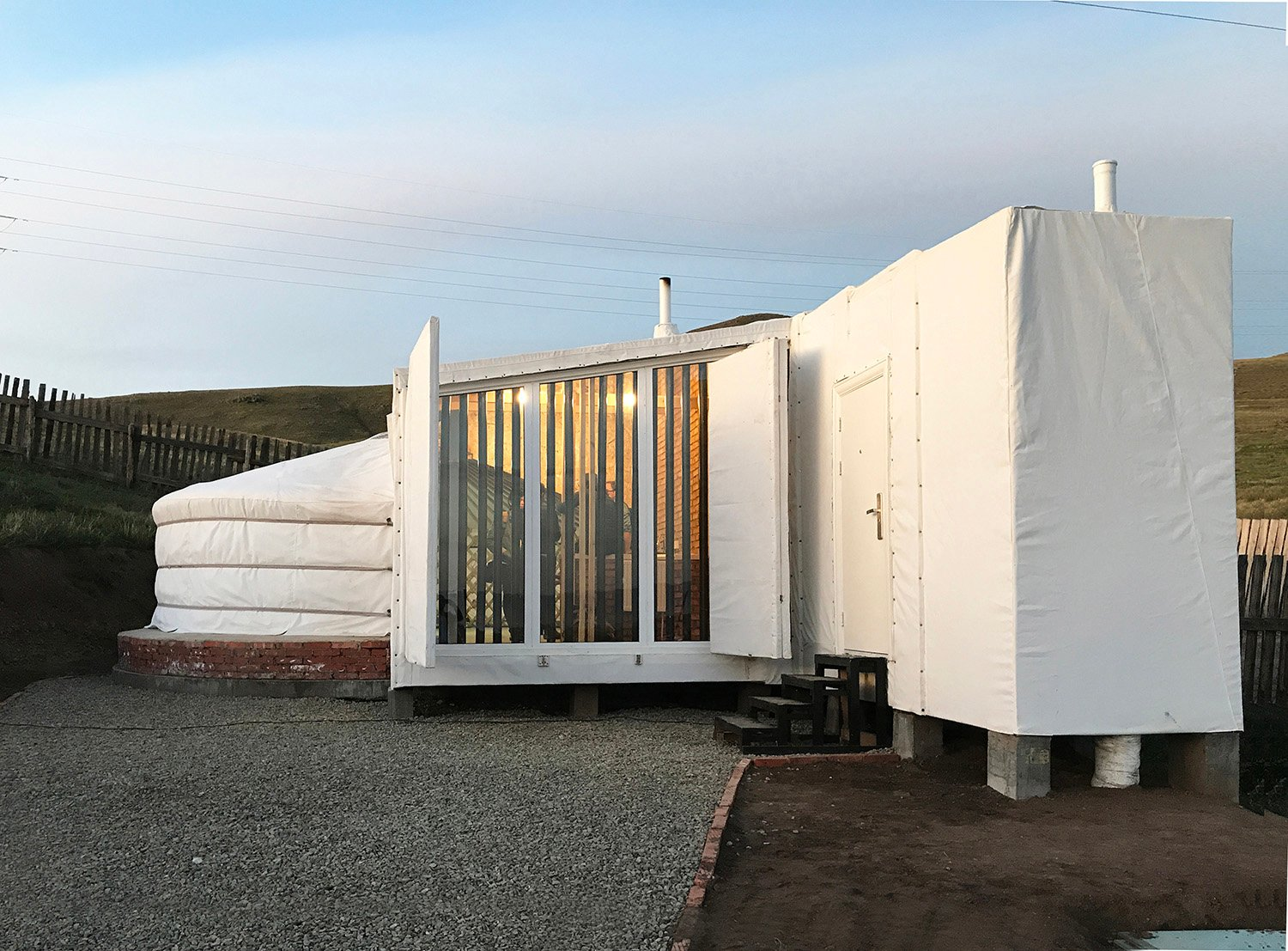 South facing facade of the Ger Plug-in with trombe wall Rural Urban Framework (RUF)