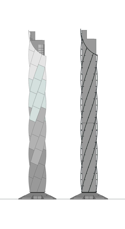 ThyssenKrupp Test Tower - View of the membrane and spirals Werner Sobek Stuttgart}