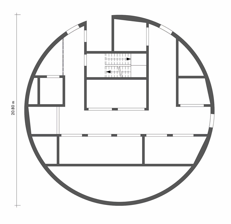 ThyssenKrupp Test Tower - Floor plan level +10 Werner Sobek Stuttgart}