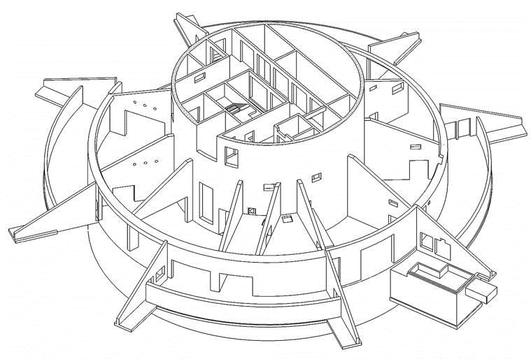ThyssenKrupp Test Tower - Isometry of the entrance area Werner Sobek Stuttgart}