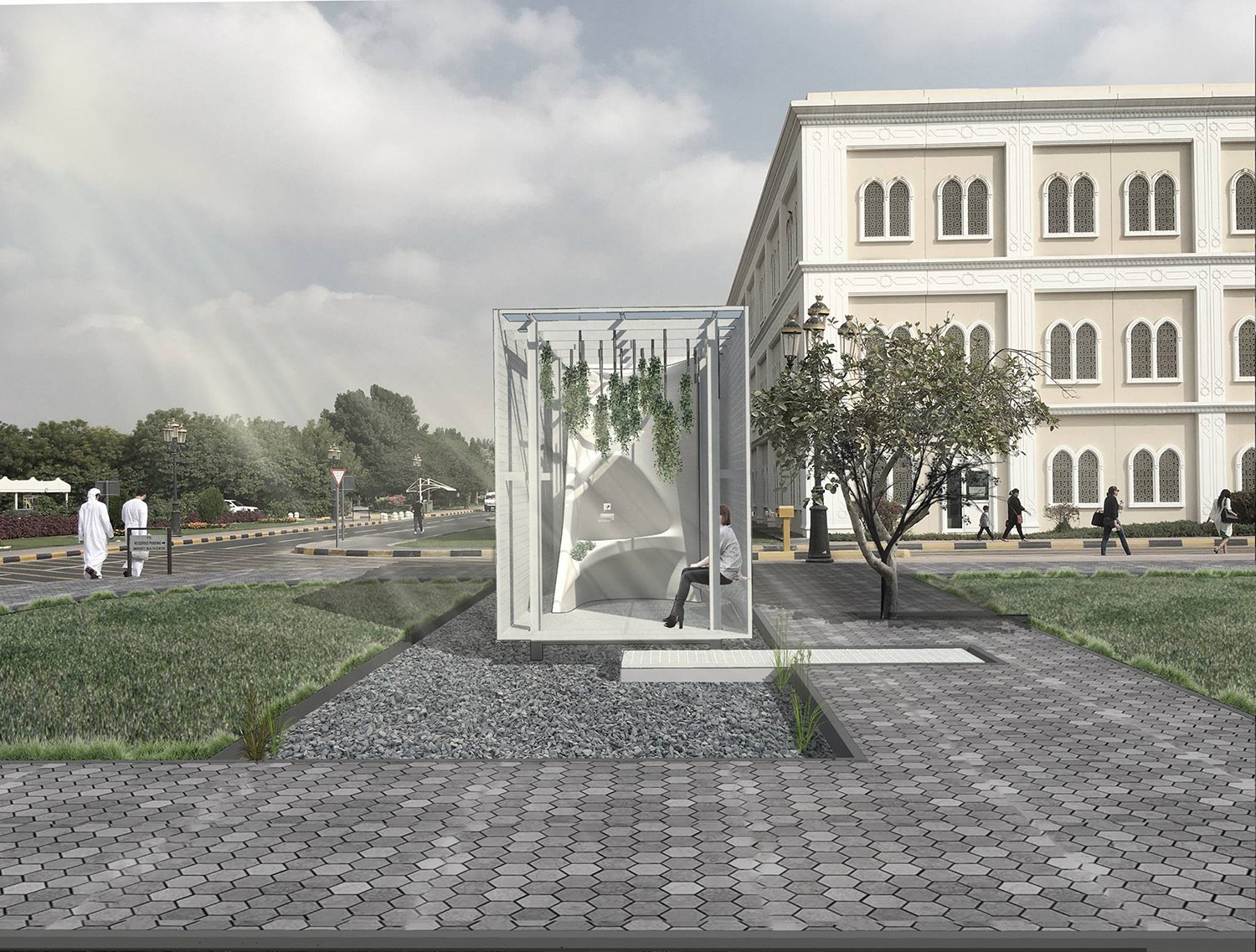 View of Garden Space and Drinking Fountain Asmaa Abu Assaf}