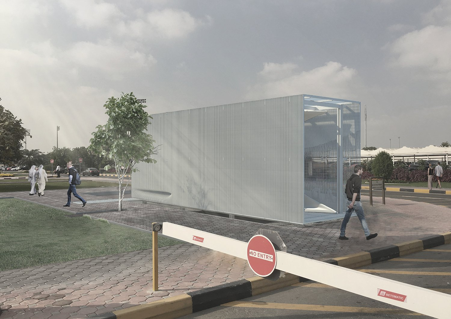 Rendered View of Security Booth from Entry Gate Asmaa Abu Assaf}