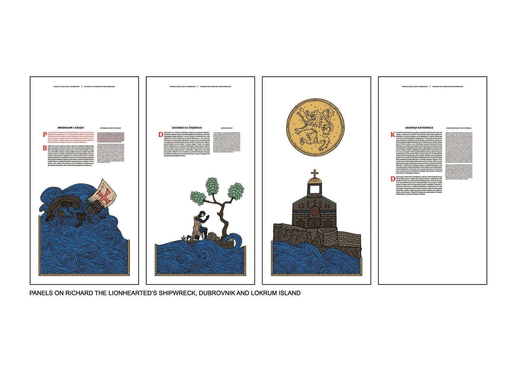 PANELS ON RICHARD THE LIONHEARTED'S SHIPWRECK, DUBORVNIK AND LOKRUM ISLAND OAZA}