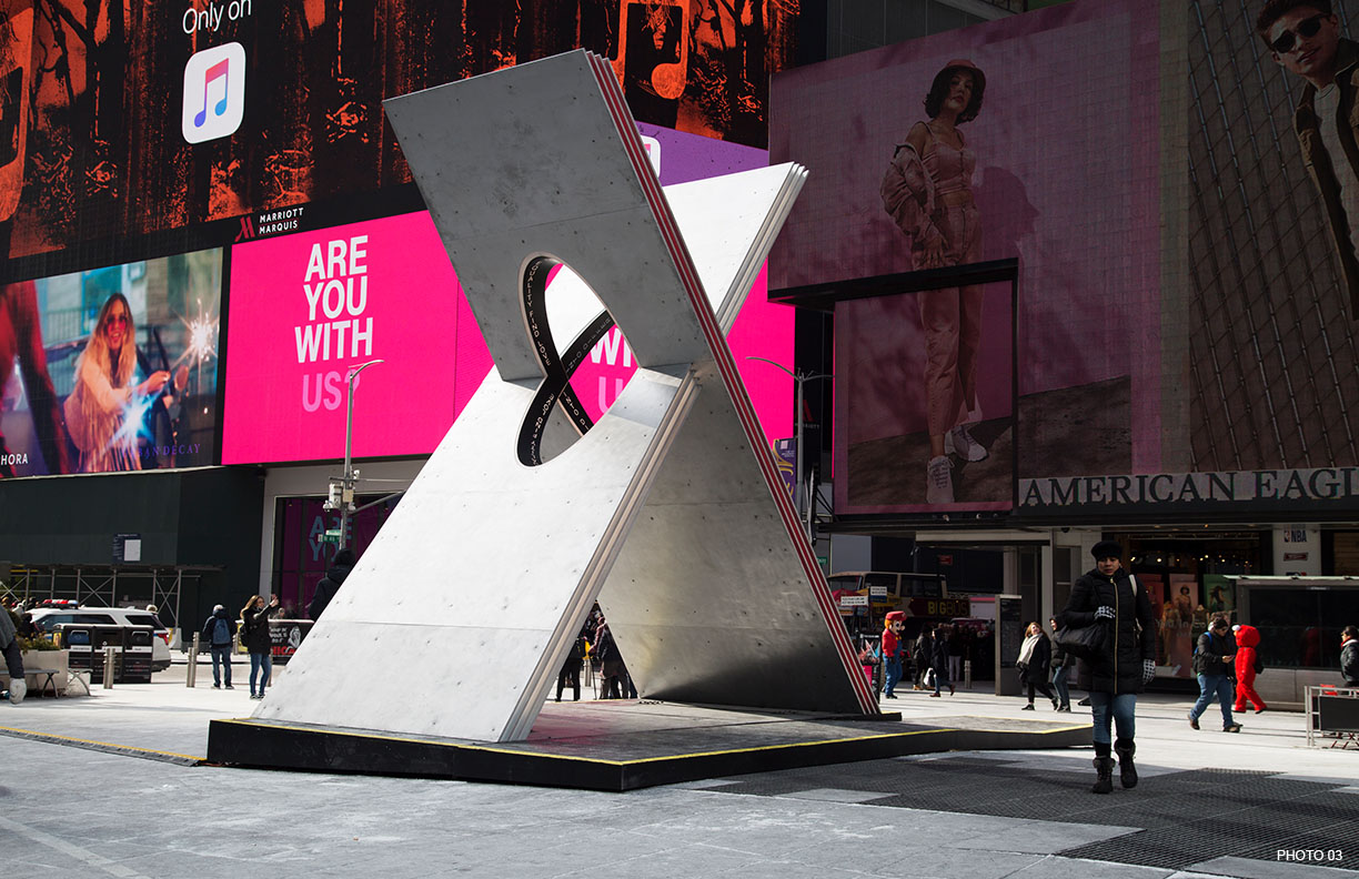 X in Times Square during the day Courtesy of Ka-Man Tse for Times Square Arts