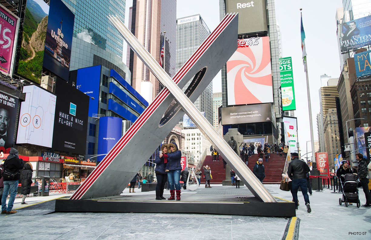X captured from ground level Courtesy of Ka-Man Tse for Times Square Arts