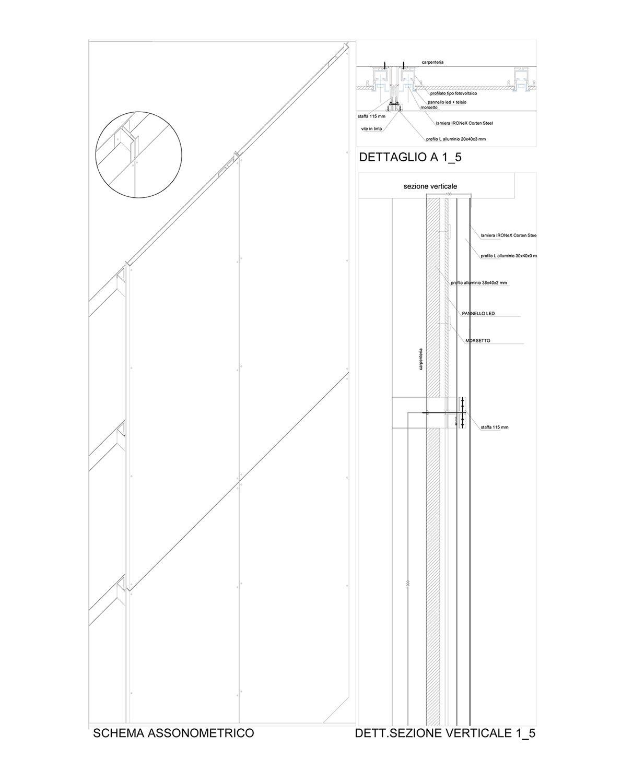 Dettaglio assonometrico e sezione del sistema struttura e retroilluminazione Vitae Design studio di architettura}