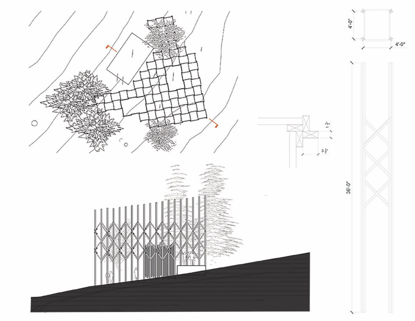 Layout plan and section School of Architecture, Portland State University}