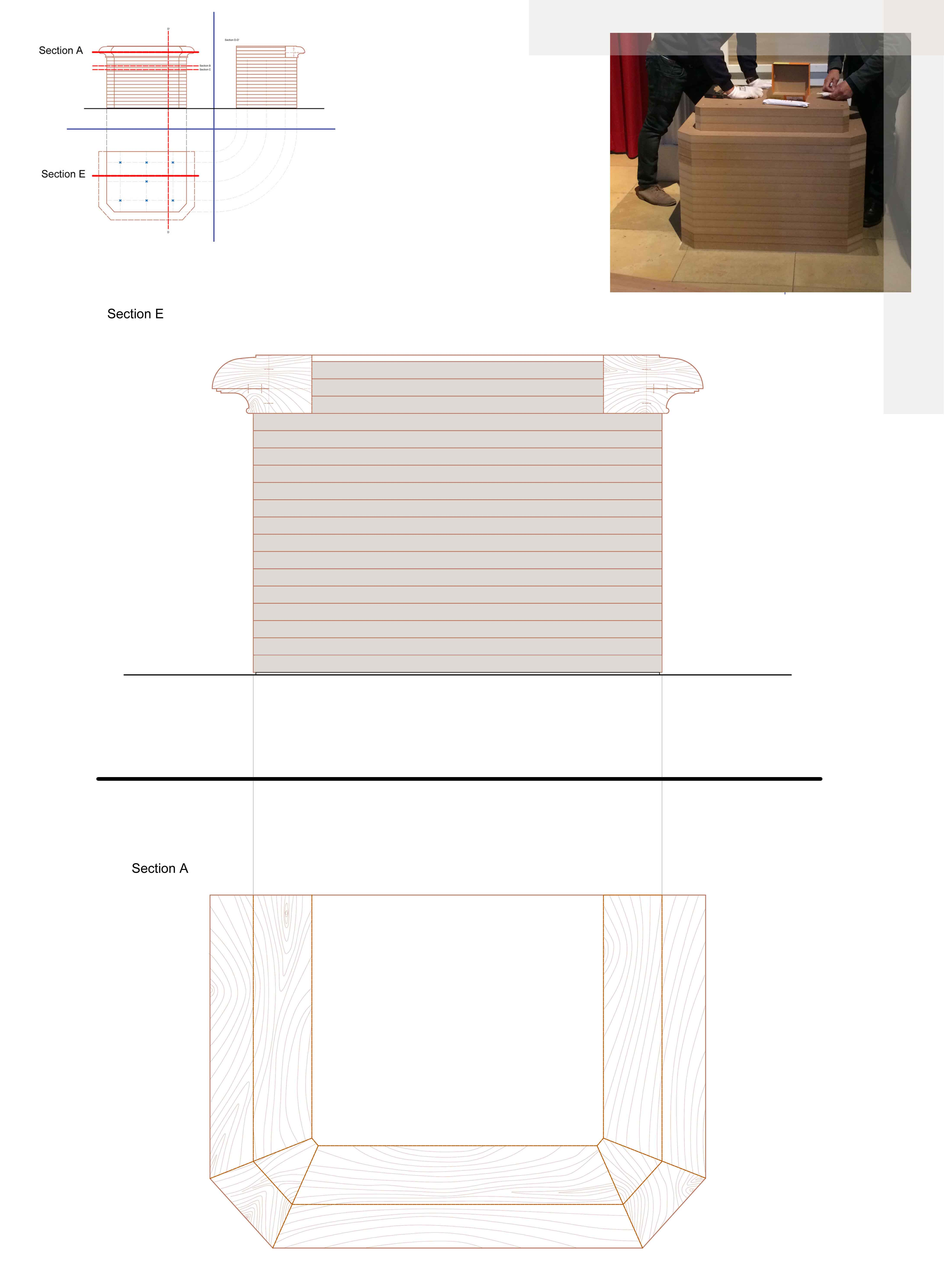 Design for the base supporting the sculptures, and a picture showing timber ballast elements piled up to stabilize structures. Plates are set upon a layer of propylene to avoid degradation. Fonti}