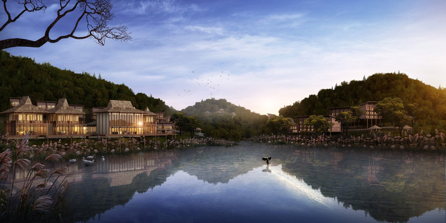 Waterfront rendering Drawn by Shanghai Tianhua Architectural Design Co., Ltd.}