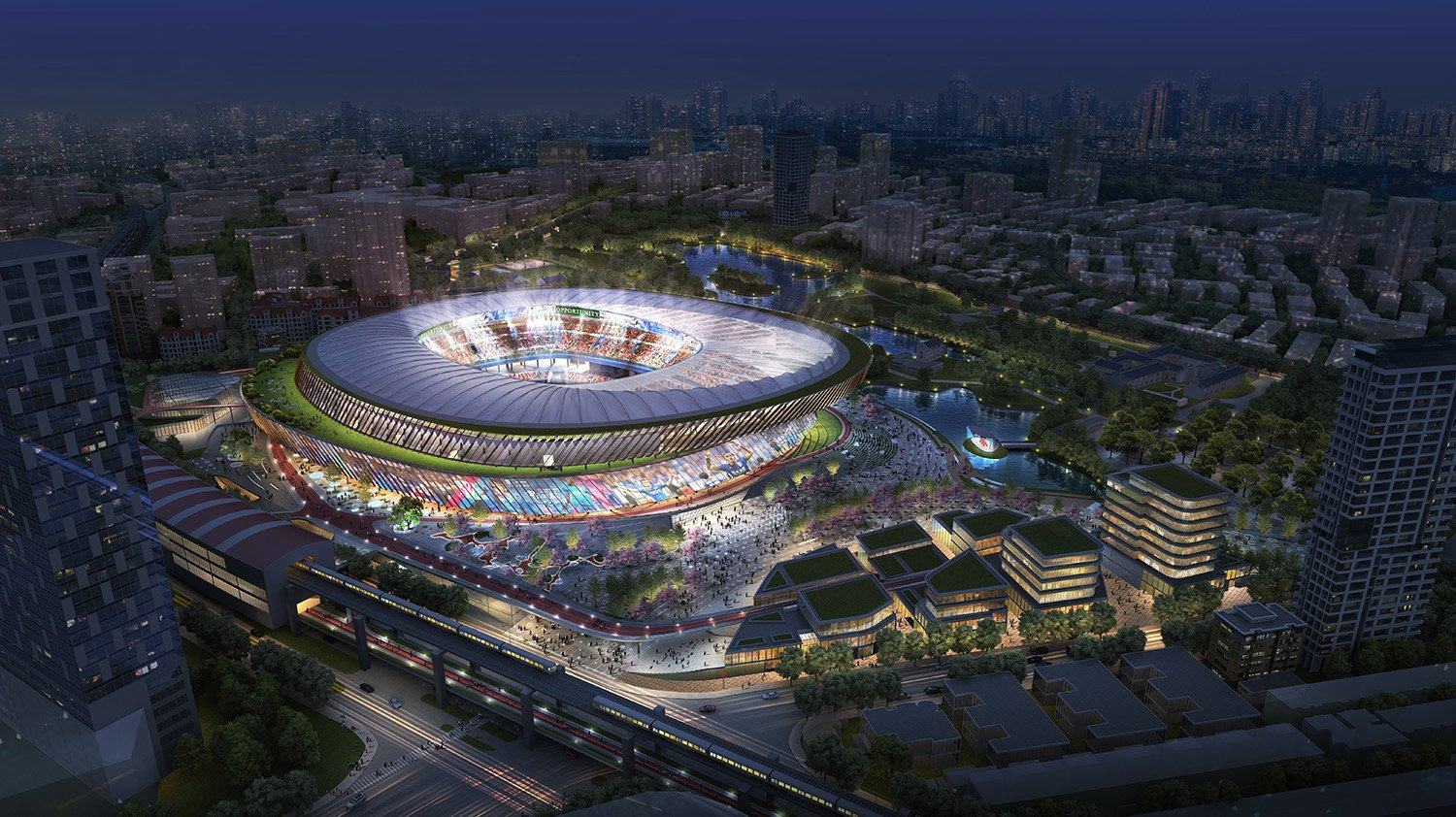 While stadiums traditionally serve the single purpose of hosting sporting events, the design  strives to reinvent sports arenas to serve as a space for all citizens. SASAKI