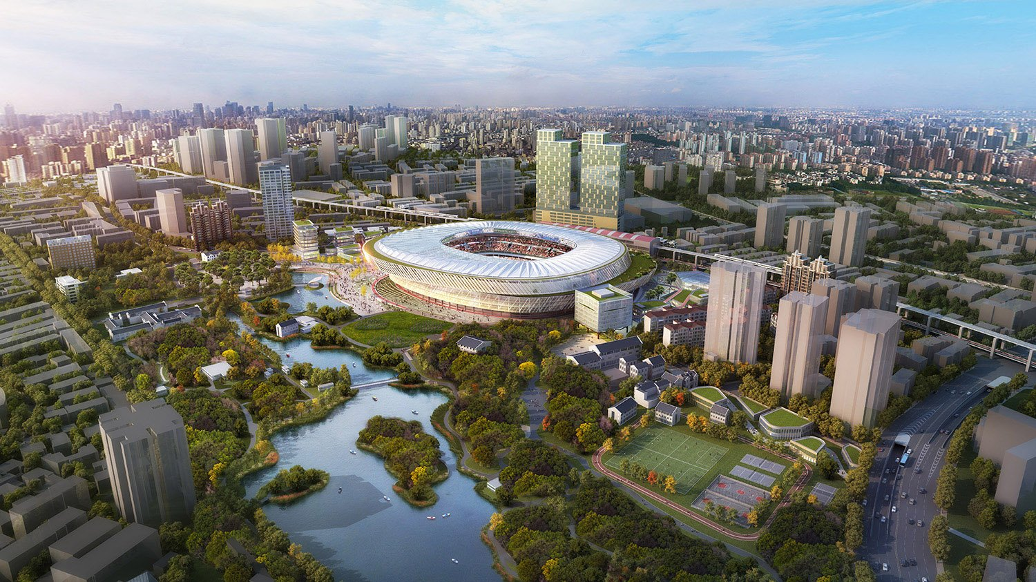 Located adjacent to Luxun Park, the park's landscape is extended through the stadium to created an integrated experience. SASAKI