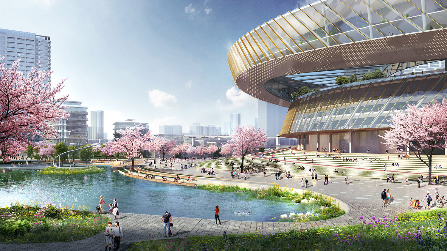 The stadium acts a connective tissue that bridges the vibrancy of the city with the tranquility of the park. SASAKI