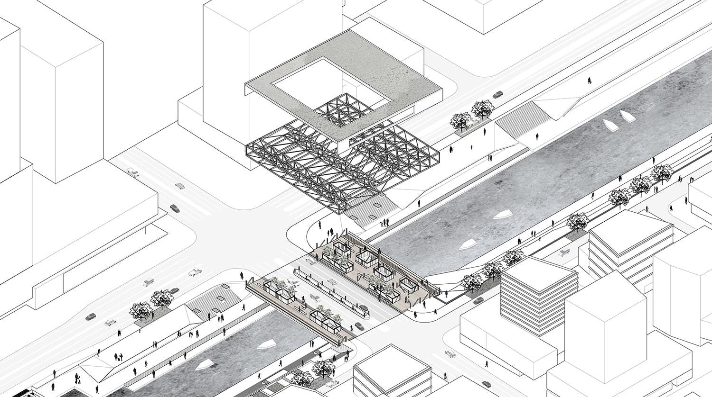 Axonometry © JADRIC ARCHITEKTUR ZT GmbH & TONGJI ARCHITECTURAL DESIGN AND RESEARCH INSTITUTE}
