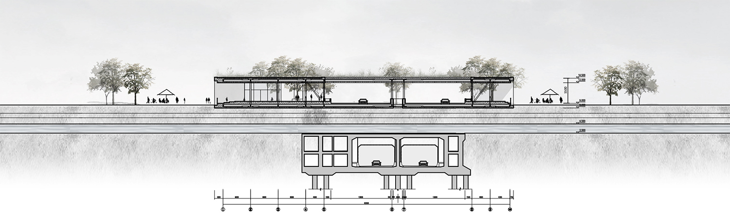 Cross Section © JADRIC ARCHITEKTUR ZT GmbH & TONGJI ARCHITECTURAL DESIGN AND RESEARCH INSTITUTE