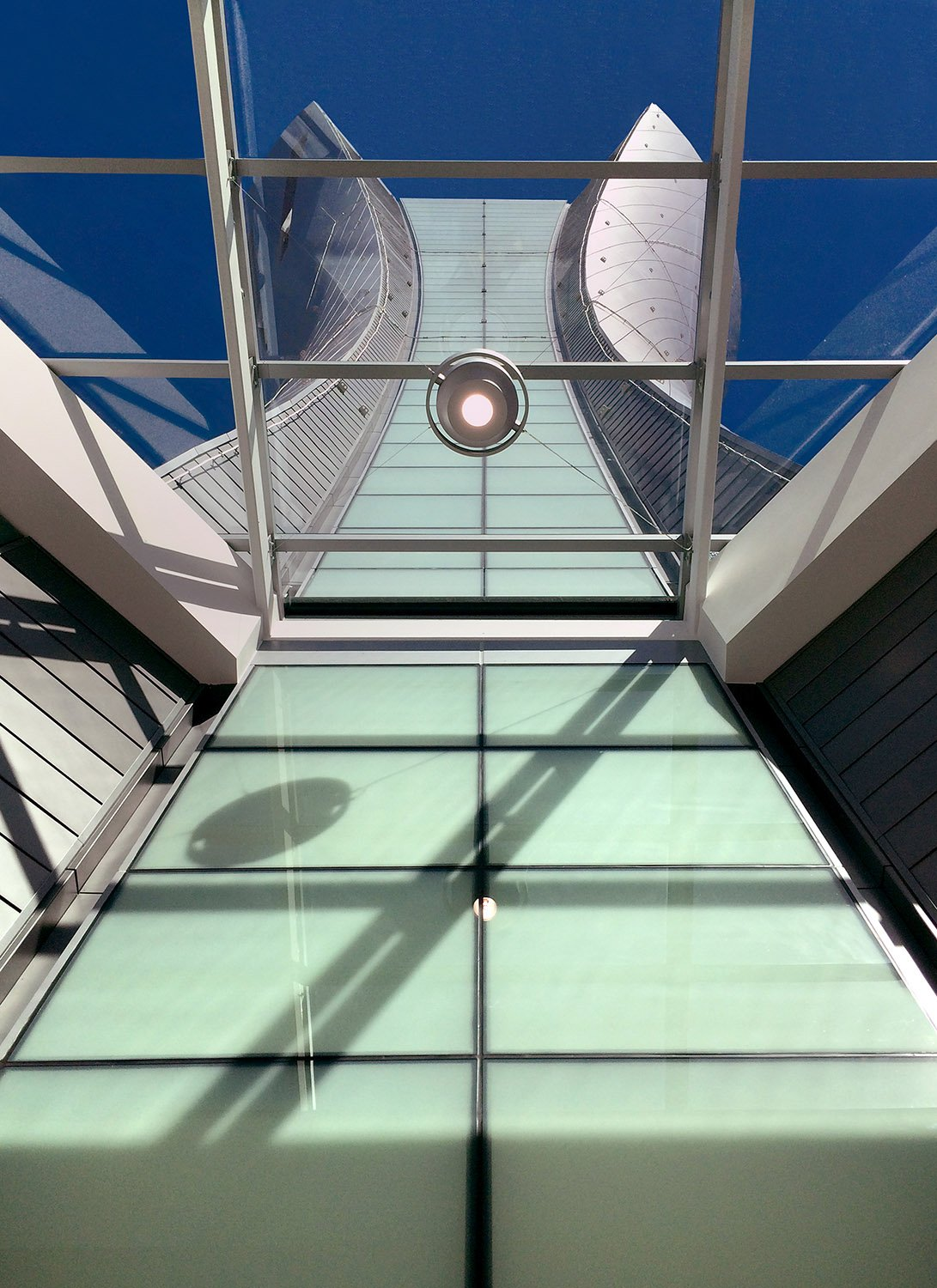 View of tower looking up from the public cooridor Fentress Architects