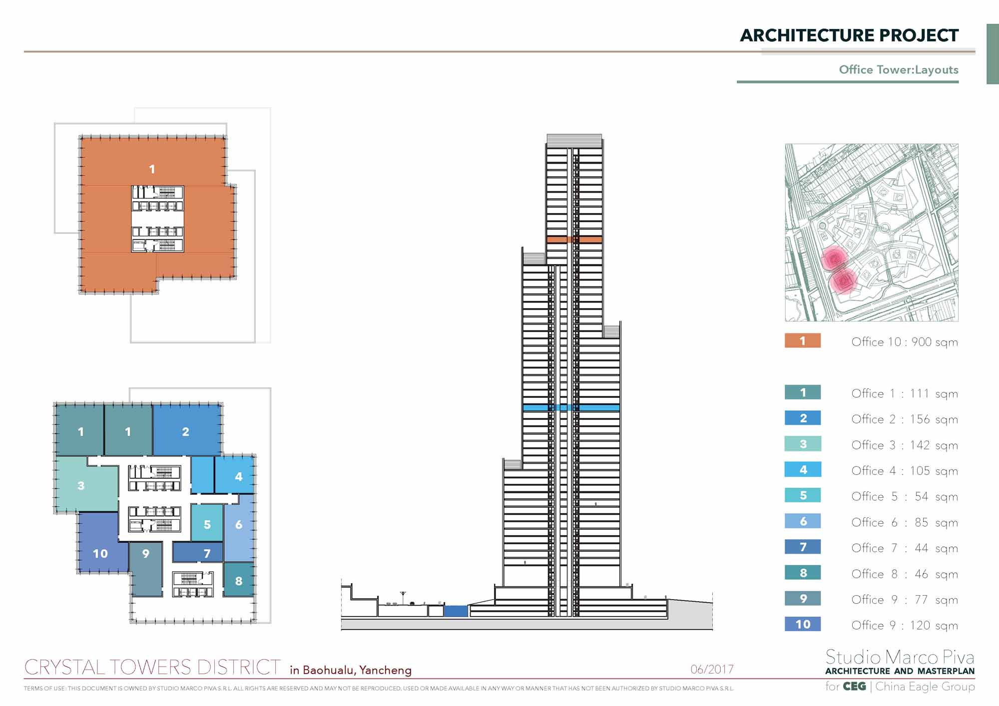 Crystal Towers office tower layout Studio Marco Piva}