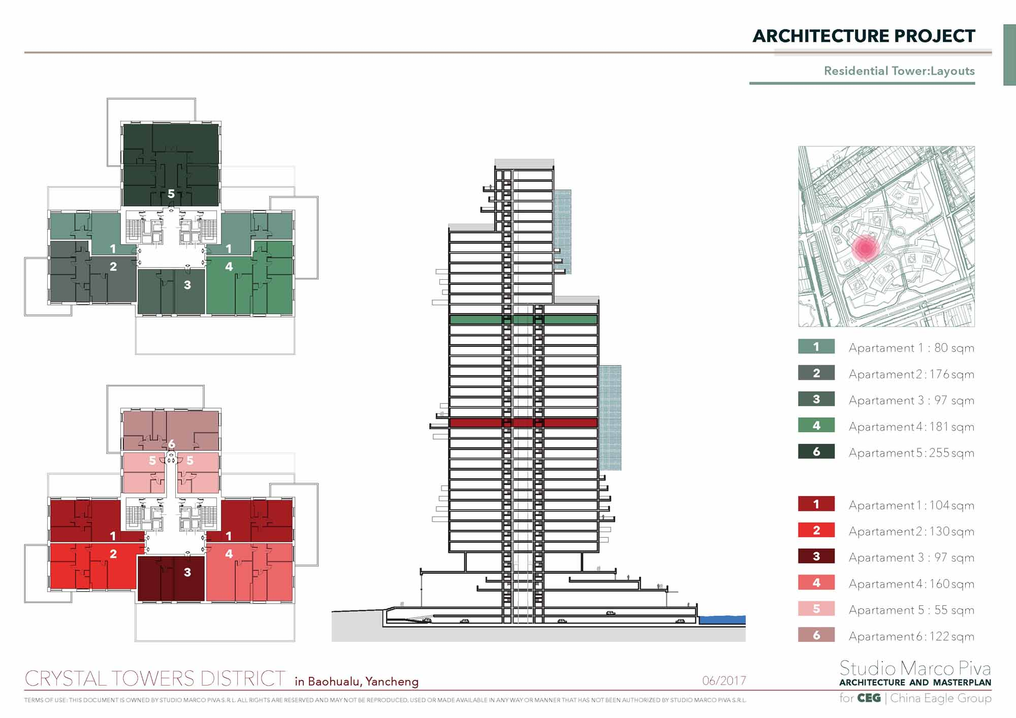 Crystal Towers residential tower layout Studio Marco Piva}