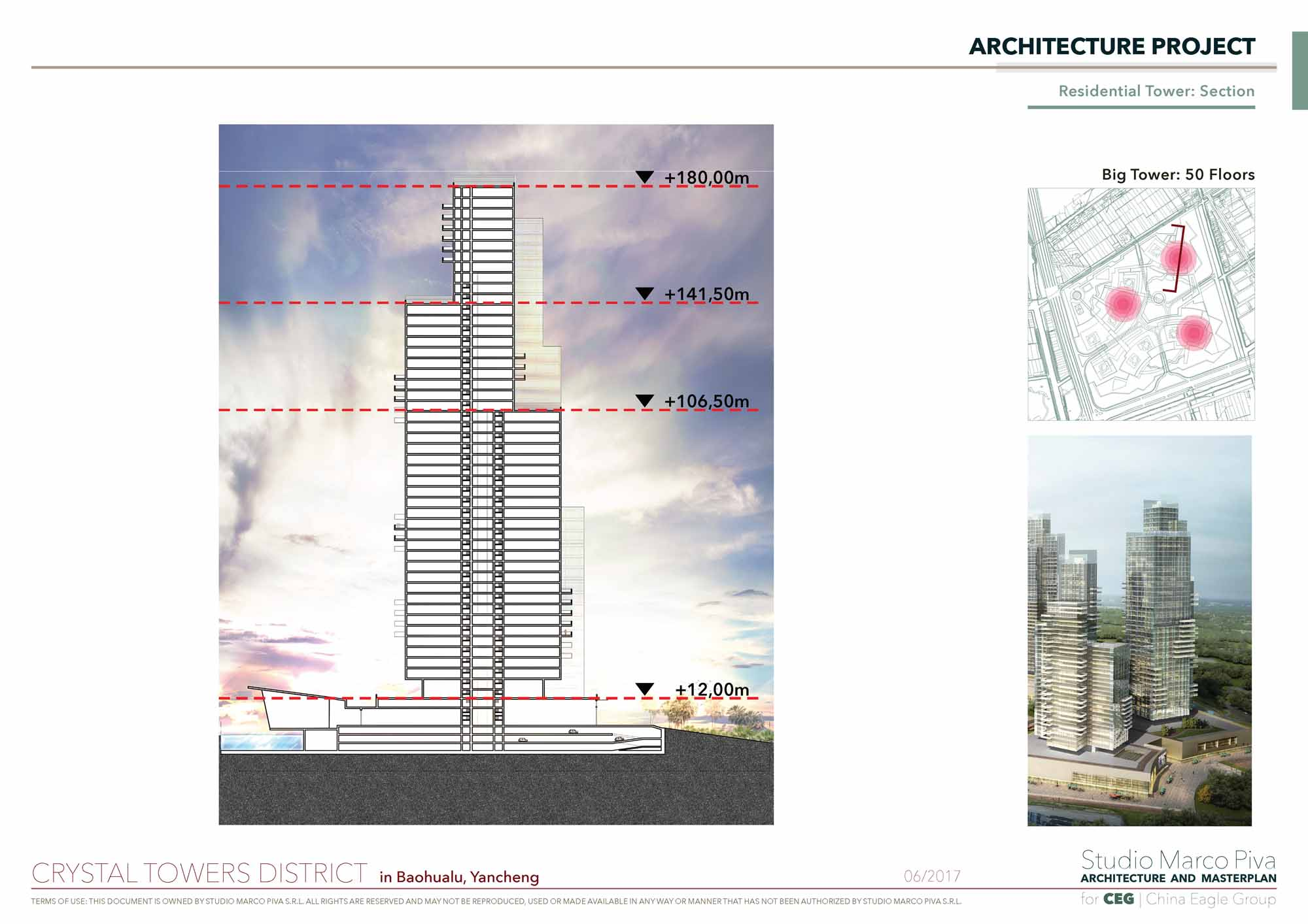 Crystal Towers residential tower section Studio Marco Piva}
