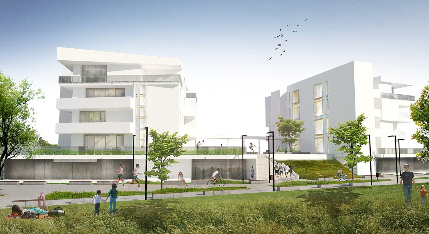 Render_Esterni_Area pedonale photo © 2019 by GBA Studio srl / Gianluca Brini - Architetto Bologna - Via Andrea Costa 202/2 http://www.gbastudio.it/