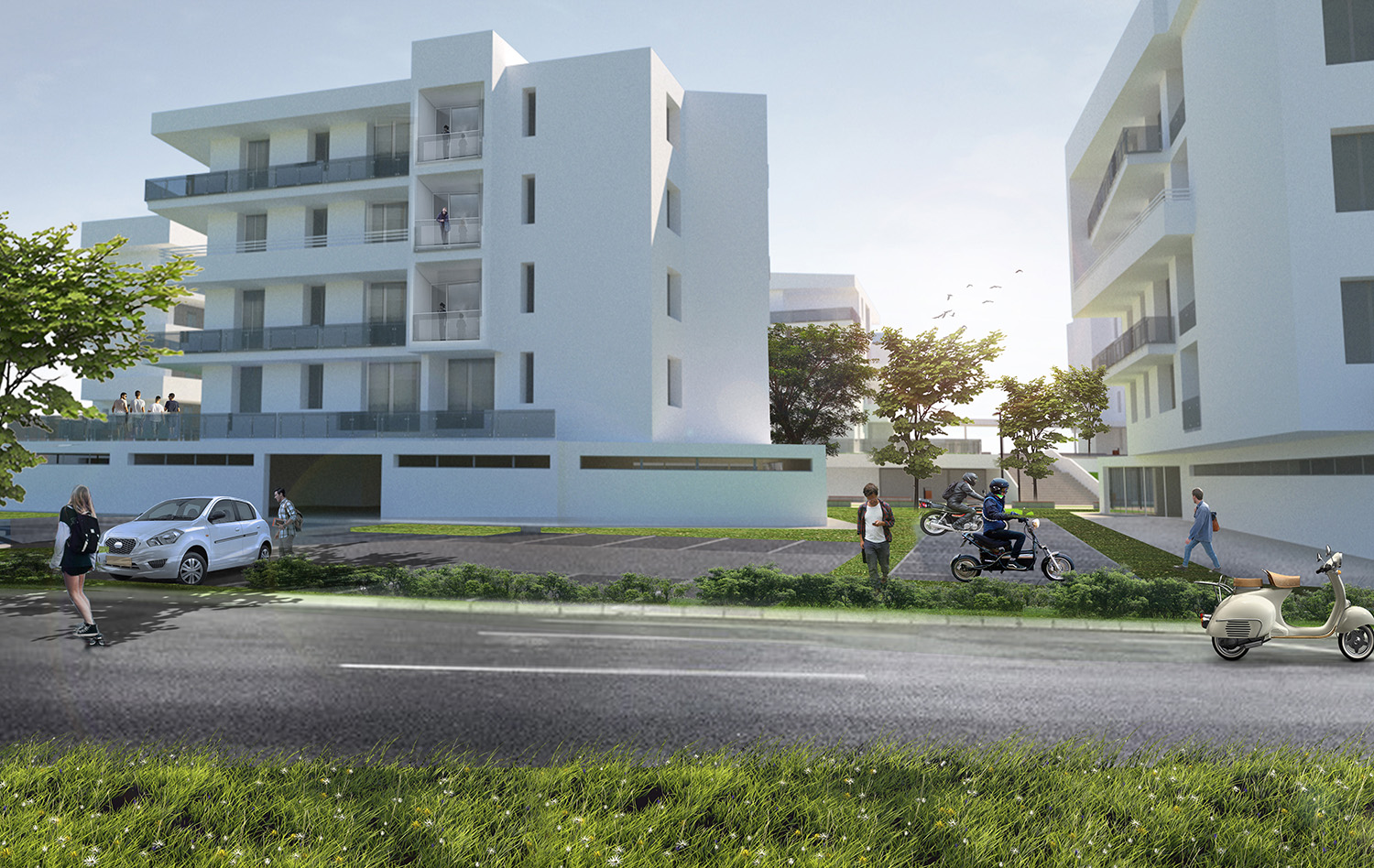 Render_Esterni_Da strada photo © 2019 by GBA Studio srl / Gianluca Brini - Architetto Bologna - Via Andrea Costa 202/2 http://www.gbastudio.it/