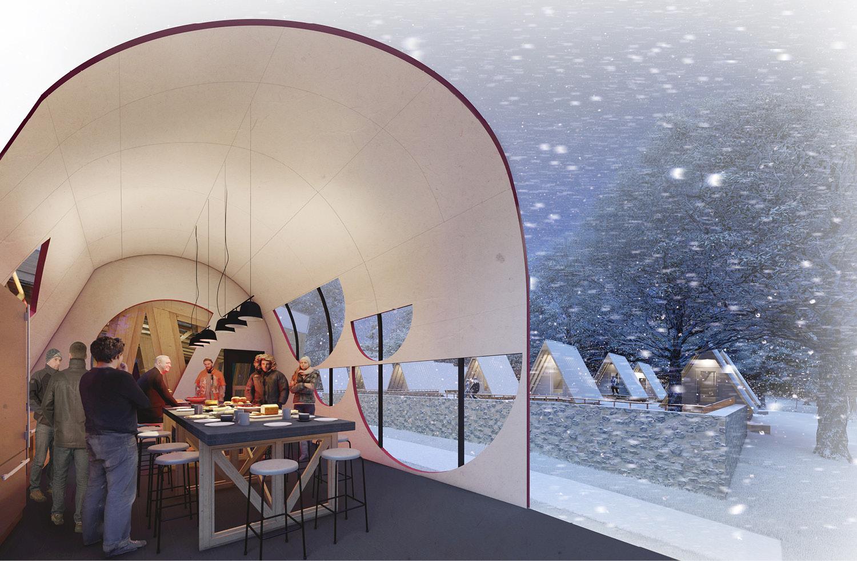 View inside the Kitchen Warming Tent University of Arkansas Community Design Center