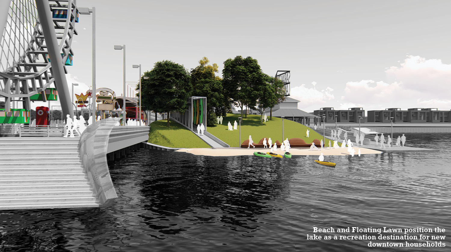 Beach and Floating Lawn position the lake as a recreation destination for new downtown households University of Arkansas Community Design Center
