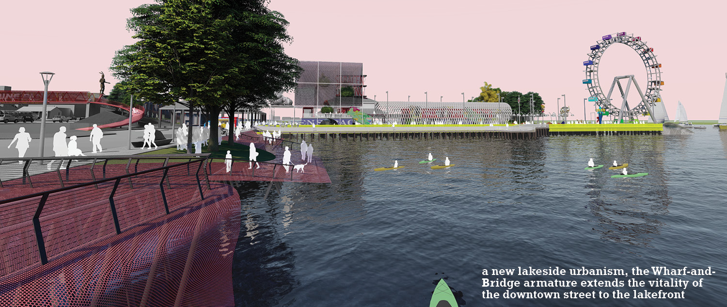 a new lakeside urbanism, the Wharf-and-Bridge armature extends the vitality of the downtown street to the lakefront University of Arkansas Community Design Center