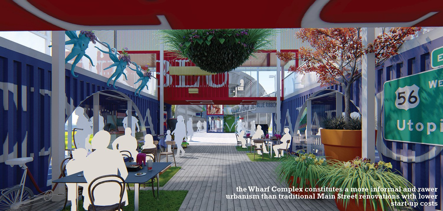 the Wharf Complex constitutes a more informal and rawer urbanism than traditional Main Street renovations with lower start-up costs University of Arkansas Community Design Center
