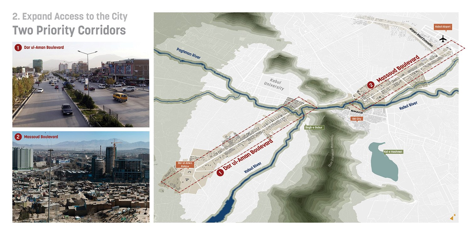 Dar ul-Aman and Massoud Roads were chosen to be the testing ground for corridor regeneration strategies. Sasaki