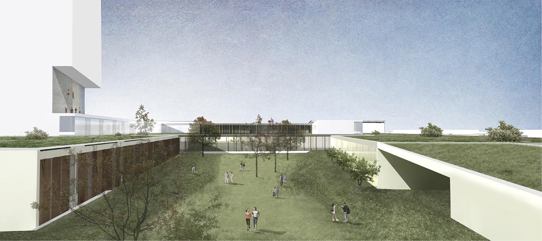 Vista della copertura verde del centro sportivo Gherardiarchitetti