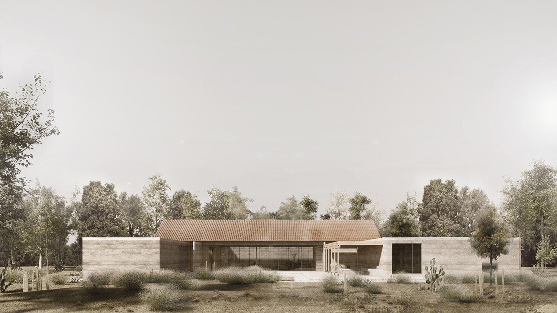Render - Exterior View, South Facade Bernardo Quinzaños, Ignacio Urquiza, Centro de Colaboración Arquitectónica}