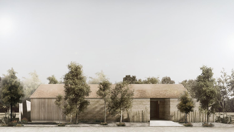 Render - Exterior View, Principal Facade Bernardo Quinzaños, Ignacio Urquiza, Centro de Colaboración Arquitectónica}