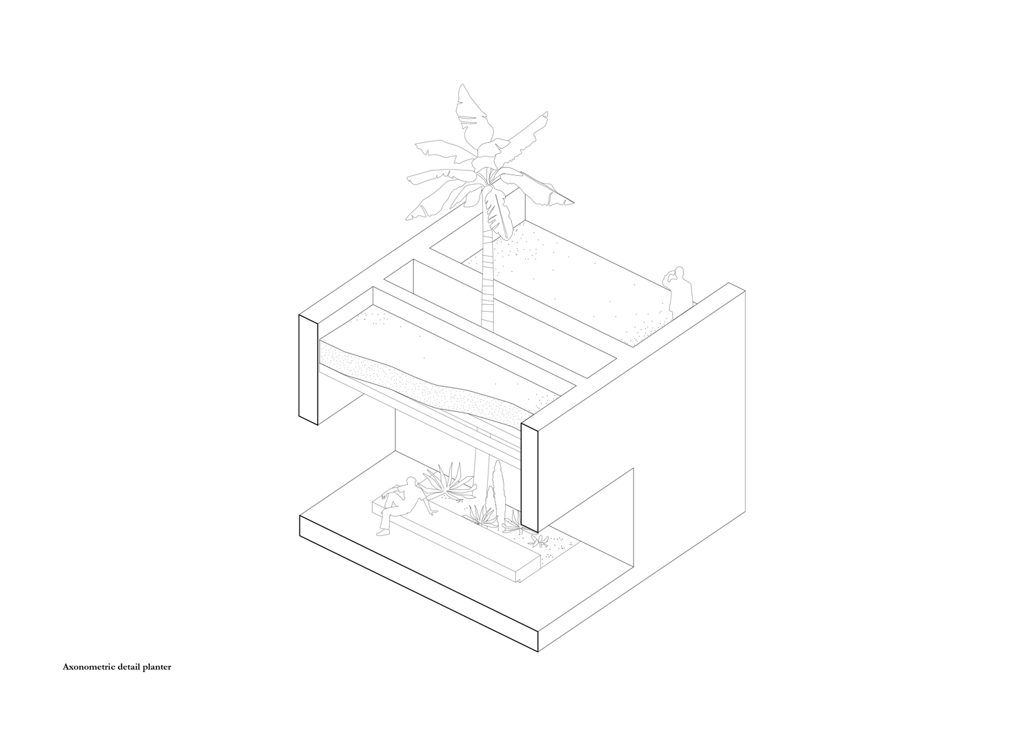 Axonometric view detail planter of the portico MORQ}