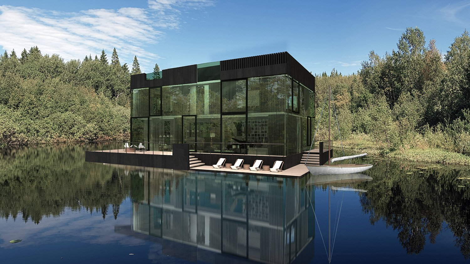 Render from lake view Mecanoo}