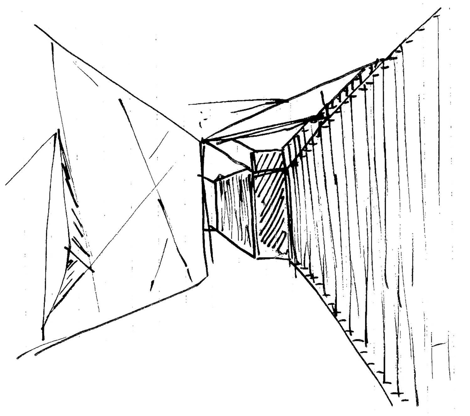 Project sketch of the internal corridor 3ndy Studio}