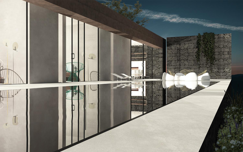 Rendering-Vista Piscina Notturna Claudio Grasso & Federica Miranda Architects