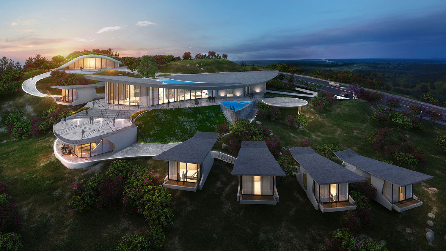 AERIAL VIEW FROM THE VALLEY KNS ARCHITECTS