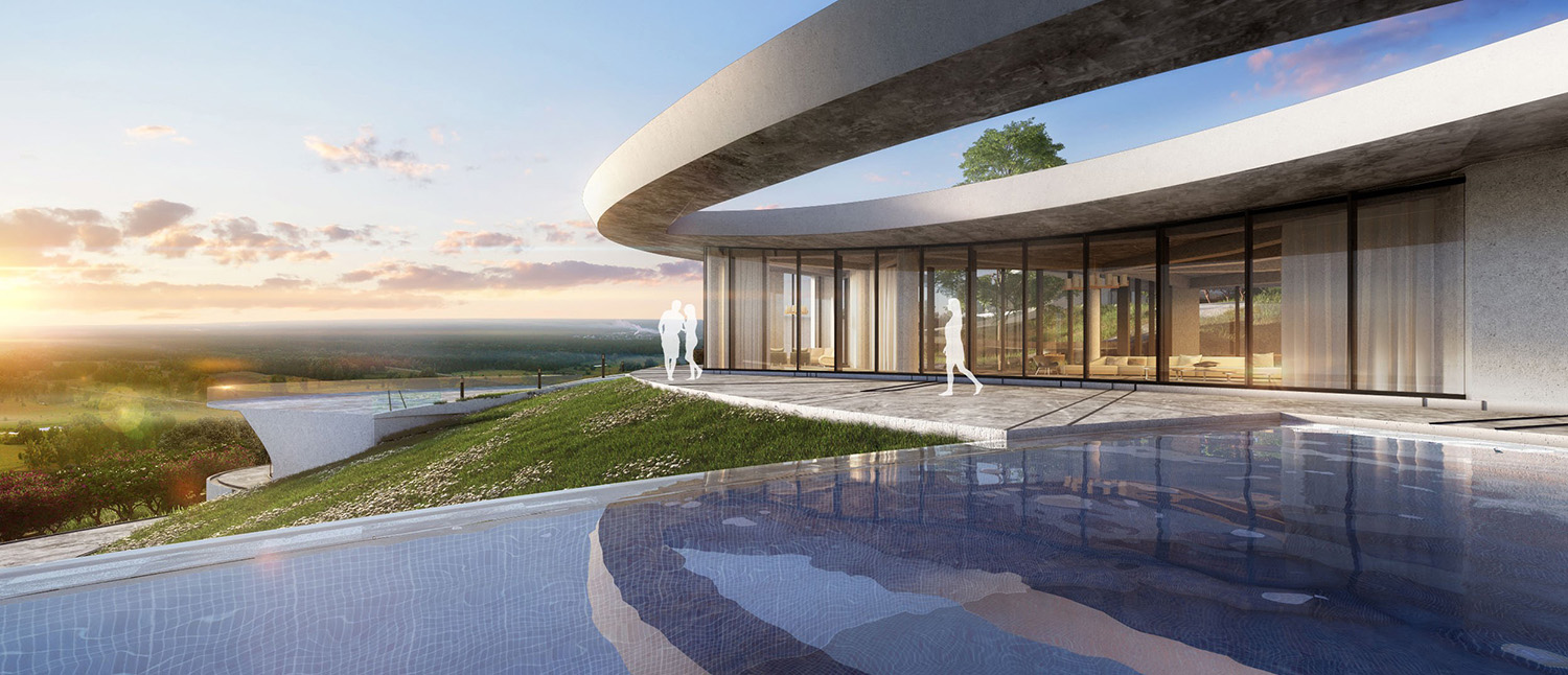 VIEW FROM THE SWIMMING POOL LOOKING TOWARDS THE VALLEY KNS ARCHITECTS