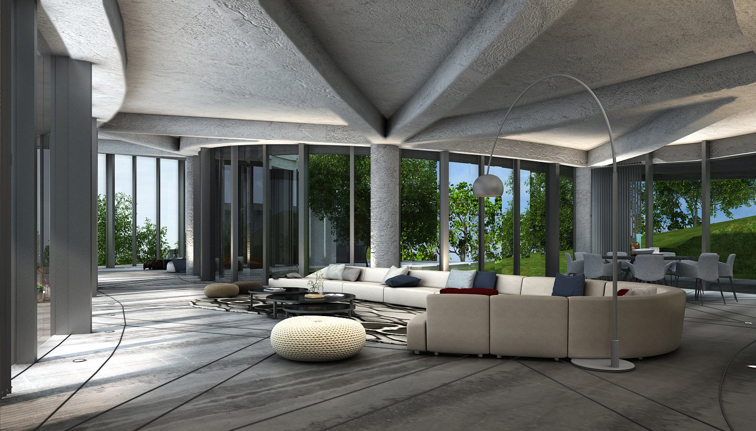 VIEW FROM THE ENTRANCE LOBBY KNS ARCHITECTS