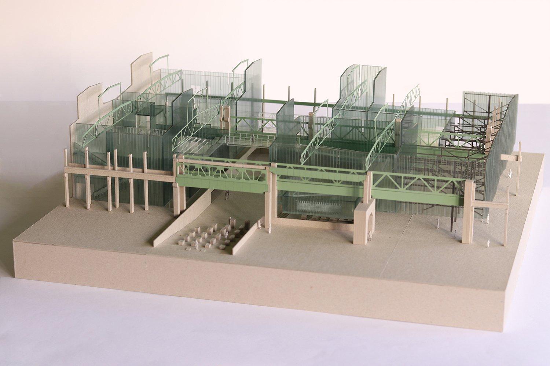 1:150 scale model of building WallaceLiu}
