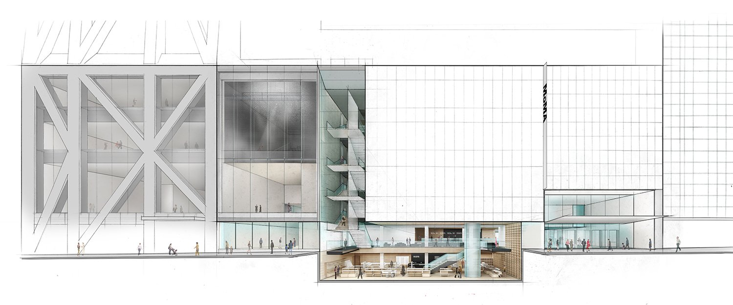 Elevation of The Museum of Modern Art on Fifty-third Street with cutaway view below street level Courtesy of Diller Scofidio + Renfro}