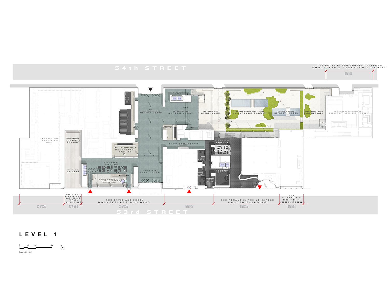 Level 1 Floor Plan, Museum of Modern Art Courtesy of Diller Scofidio + Renfro}