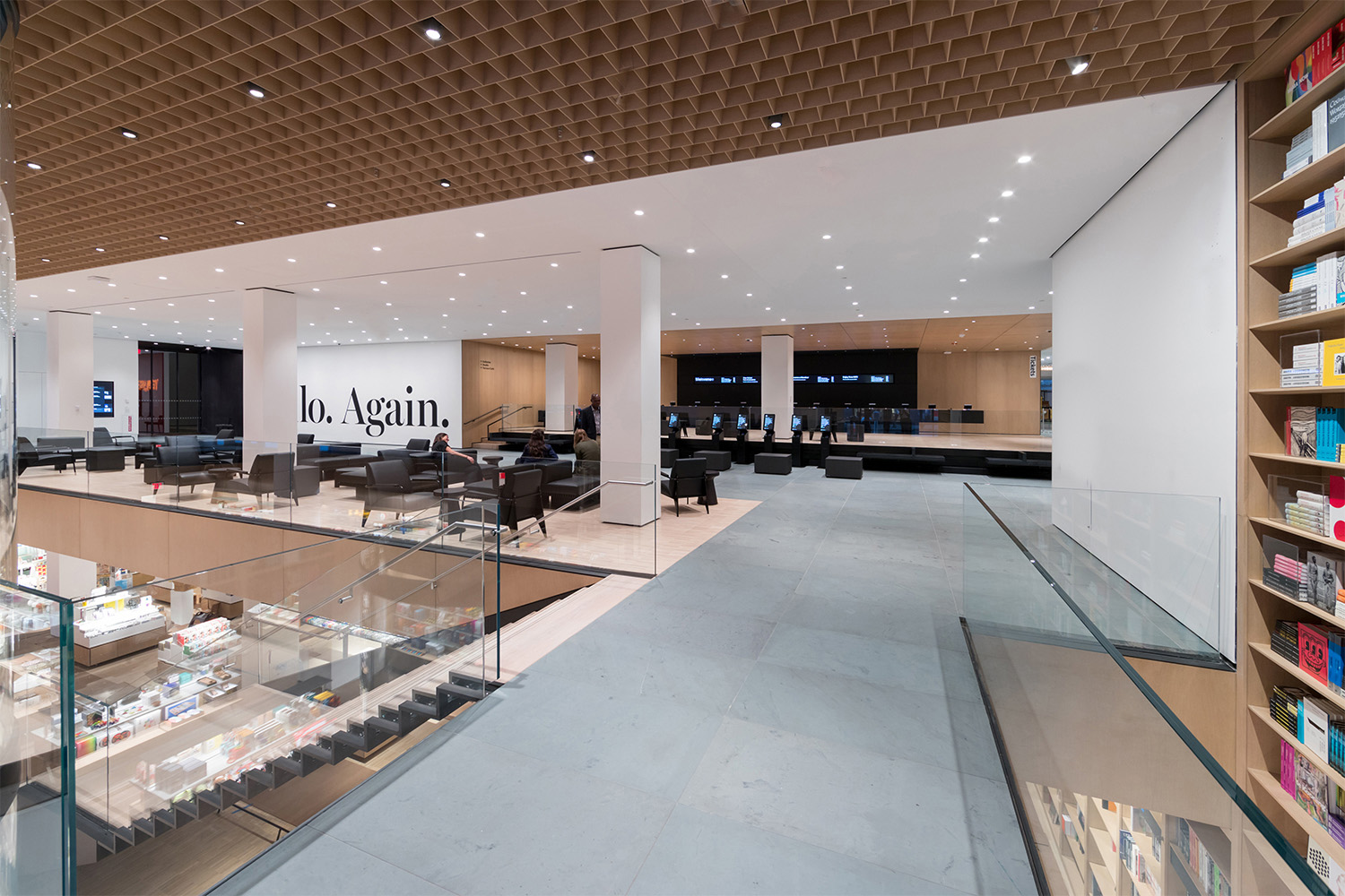 Interior view of The Museum of Modern Art, West Lobby Lounge and Eli & Edythe Broad Ticketing Platform Photography by Iwan Baan