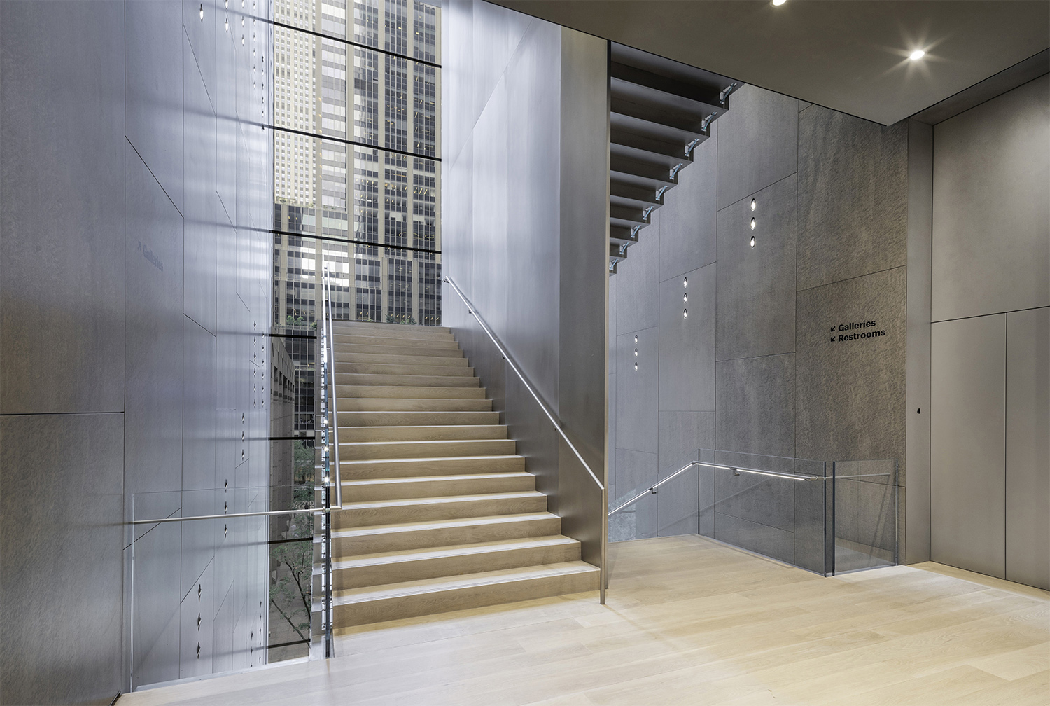 Interior view of The Museum of Modern Art, Blade Stair, Level 3 Landing Photography by Brett Beyer